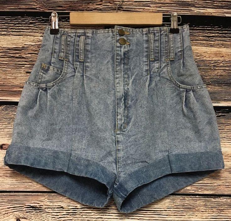 VTG Christina Juniors Size 11 80's Acid Washed High Waist Shorts Cuffed #Christina #Casual