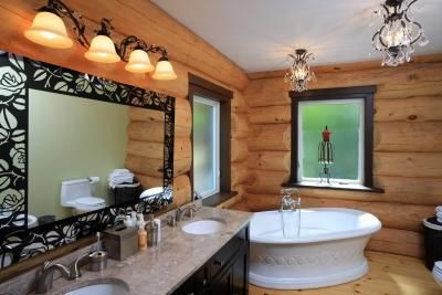 cabin decor bathroom | Decorate a cabin bathroom with rustic charm.