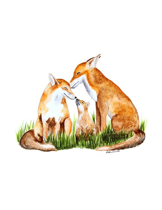 Fox Art Print for Woodland Nursery Fox Wall Art by TinyToesDesign, $24.00