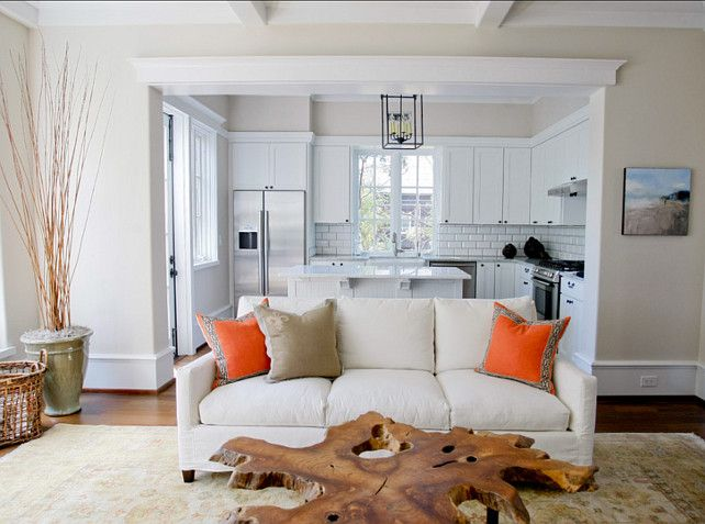 Living Room Paint Color. Neutral Living Room Paint Color. SW Dover White walls, SW Pure White trim.