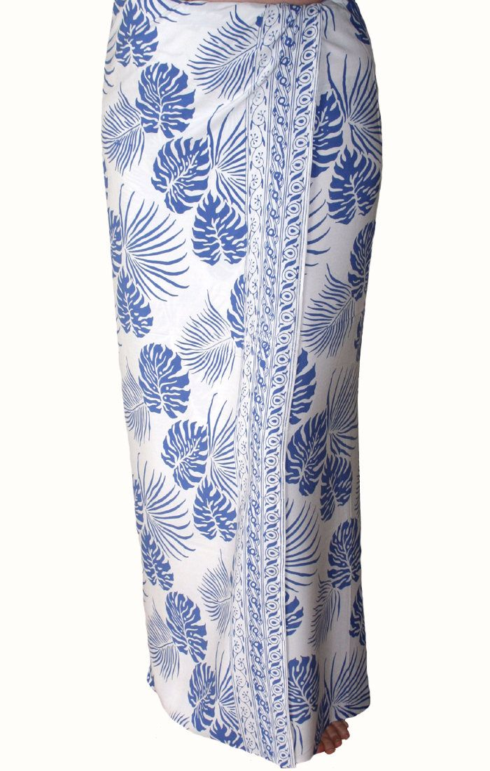 Men's Beach Sarong Wrap Batik Sarong - Men's Clothing Surf & Swimwear Pareo Hawaiian Tropical Jungle Leaf Sarong White and Blue Beachwear by PuaWear on Etsy