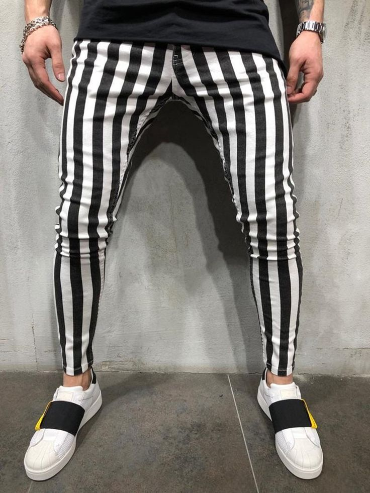 2019 black and white stripes mens joggers slim fit in 2020