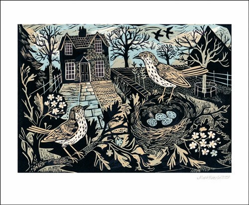 Mark Hearld, Garden Birds. Linocut.