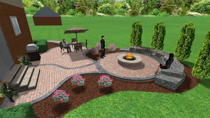 Brick paver patio and fire pit | 3D Landscape Designs ... on Paver Patio With Fire Pit Ideas id=91550