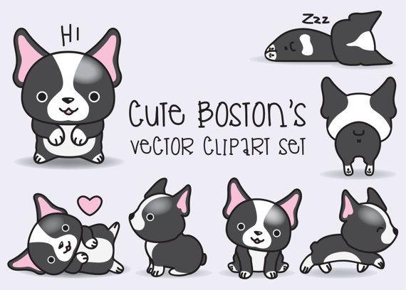 Prime Vector Clipart  Kawaii Boston Terrier par LookLookPrettyPaper