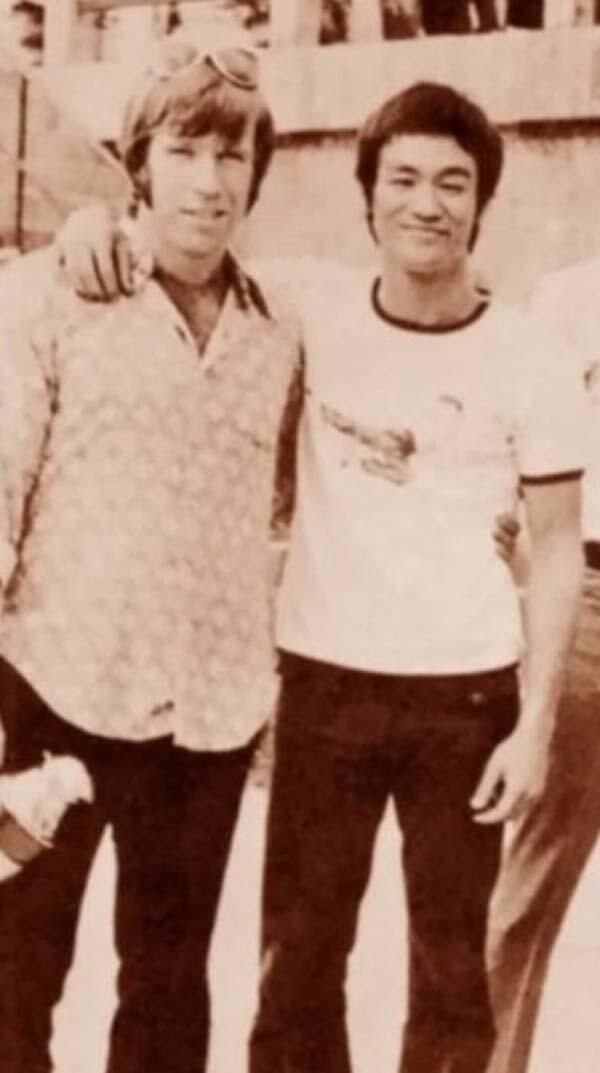 Chuck Norris and Bruce Lee. Chuck would have put his arm on Bruce, but didn't want to kill him accidentally.