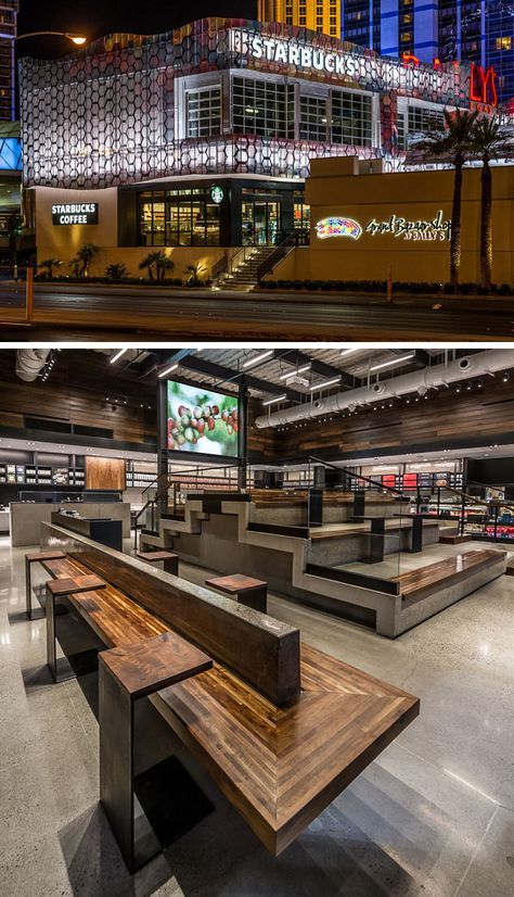 11 Of The Most Uniquely Designed Starbucks Coffee Shops From Around The World | The Starbucks location on the famous Las Vegas Strip features stadium style seating to accommodate up to 40 people, as well as a 150 square foot movie screen that plays a short film about how Starbucks coffee is made from bean to cup.