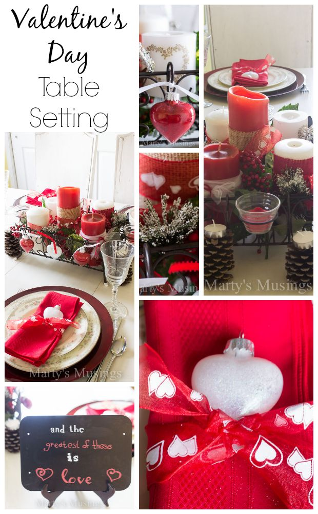 Simple tips for a frugal yet elegant Valentine's Day Tablescape using yard sale, thrift store and natural elements from outdoors. Also tips for wedding anniversary!