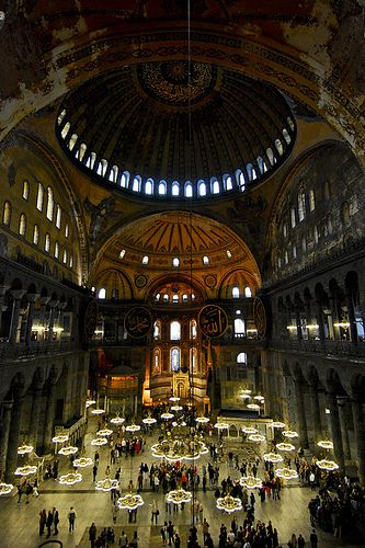 the windows on the support arches of Hagia Sophia give the allusion that this magnificent dome is floating.
