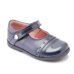 Blue Leather/Patent Girls First Walking Shoes
