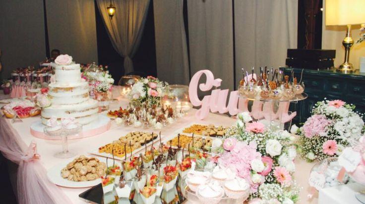 #tavolo dolci #sweet table #allestimento battesimo #battesimo #rosa