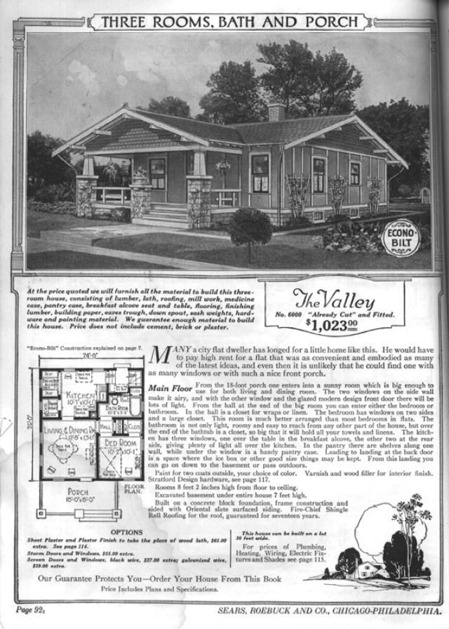 Sears Bungalows for Sale, 1921 Catalog House Plans: Sears Modern Home No. 6000, The Valley, circa 1921