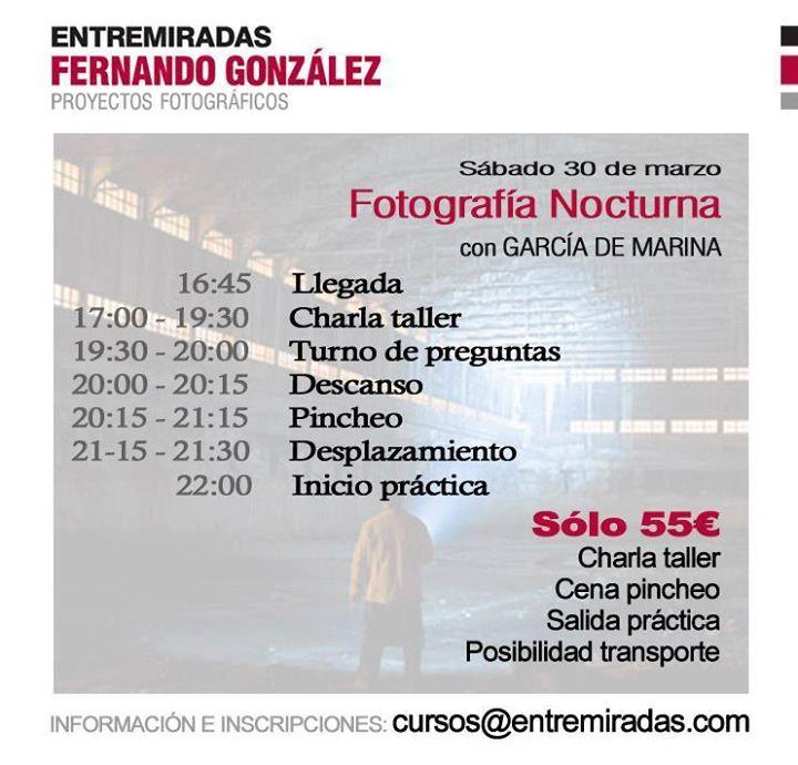 Programa de los talleres de fotografía Nocturna y Lightpainting.