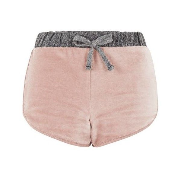 Topshop Nude Velour Loungewear Shorts ($10) ❤ liked on Polyvore featuring shorts, topshop, velour shorts and topshop shorts