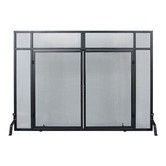 Found it at Wayfair - Windowpane 4 Panel Wrought Iron Fireplace Screens with Doors