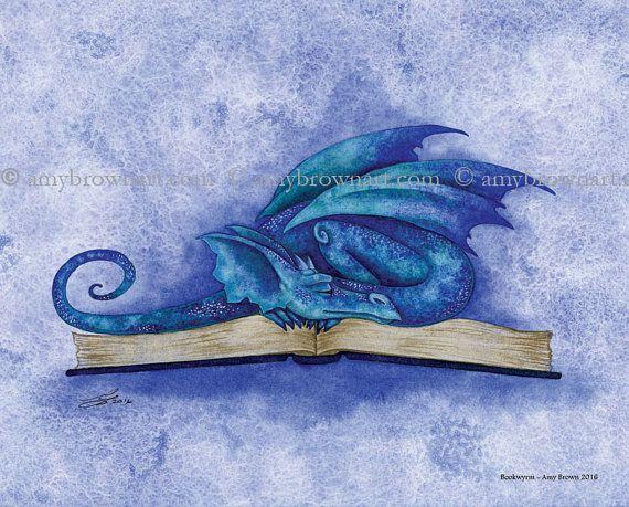 Bookwyrm Dragon 8X10 PRINT by Amy Brown by AmyBrownArt on Etsy