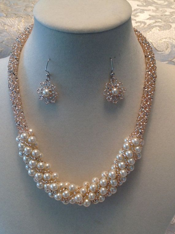 Russian Spiral Champagne Pearls and Silver necklace and earring set on Etsy, $65.00
