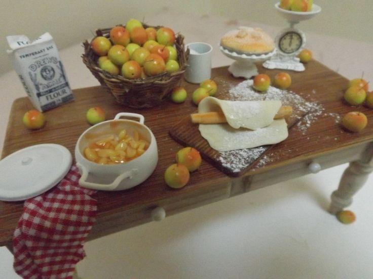 dollhouse handmade miniature table, making apple pie, dollhouse food, one inch scale , handmade x by farmhouseminiatures on Etsy