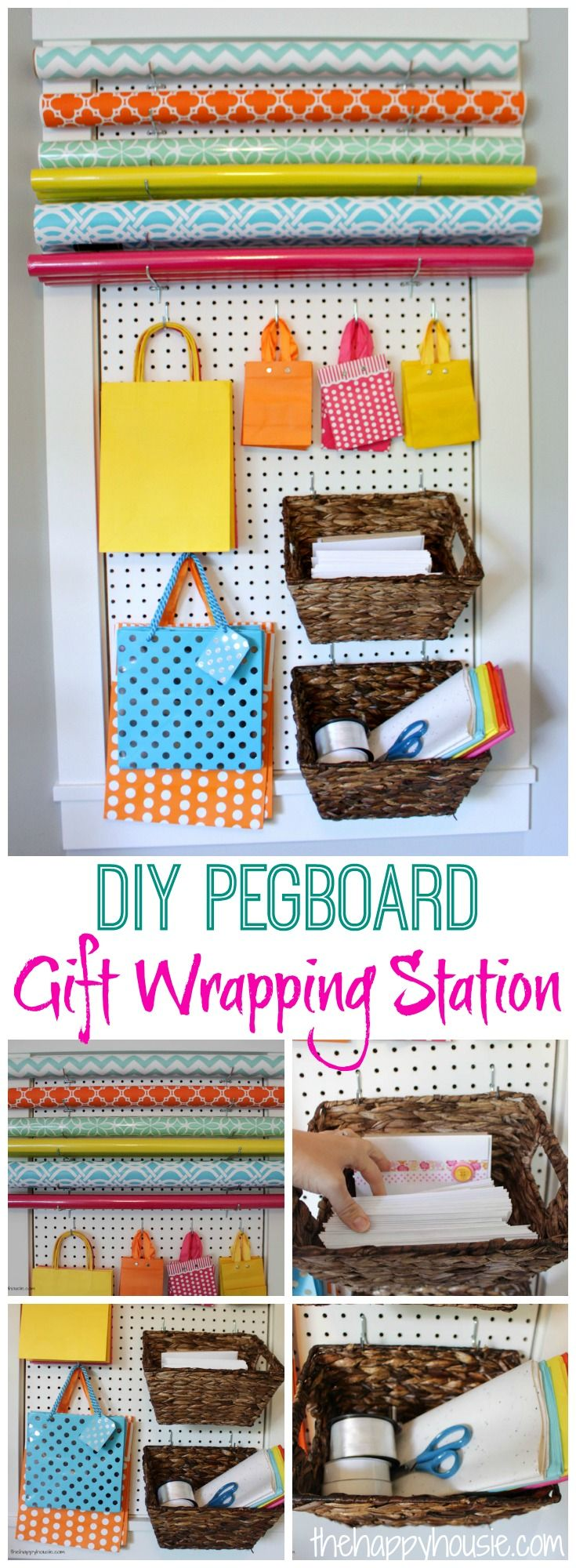 This DIY Pegboard Gift Wrapping Station is an amazing use of space and makes organizing your gift wrapping supplies functional and pretty all at once!