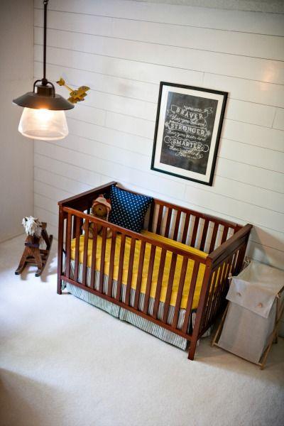 Vintage Farmhouse Nursery - love this white wood accent wall! #nursery