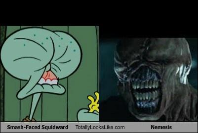 Smash-Faced Squidward (Spongebob Squarepants) Totally Looks Like Nemesis (Resident Evil)