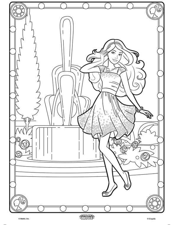 Barbie Coloring Pages App : Color alive barbie on crayola coloring pages
