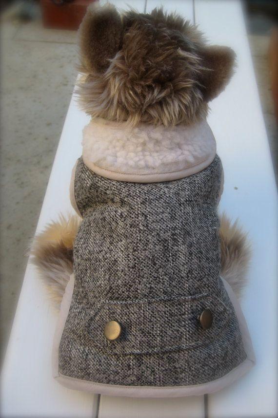 Fashionable Grey/Black Tweed Dog Coat XS by AmeVivante on Etsy, $25.00