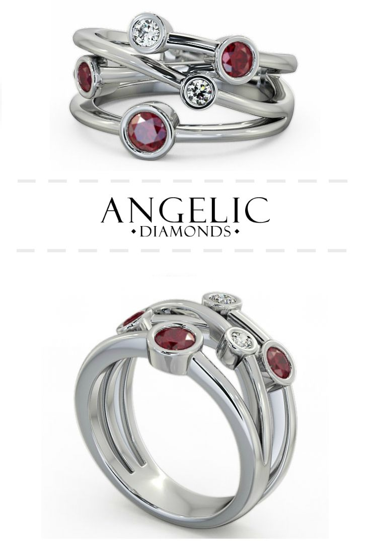 Five Stone Ruby And Diamond 0 82ct Ring 18k White Gold Jericho