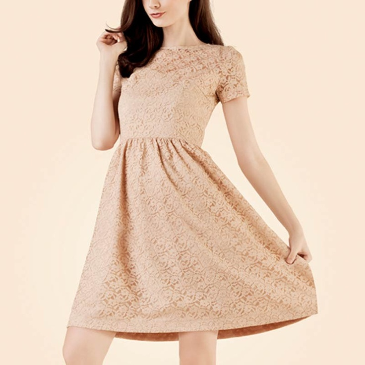 POPLIN Lace Dress Beige