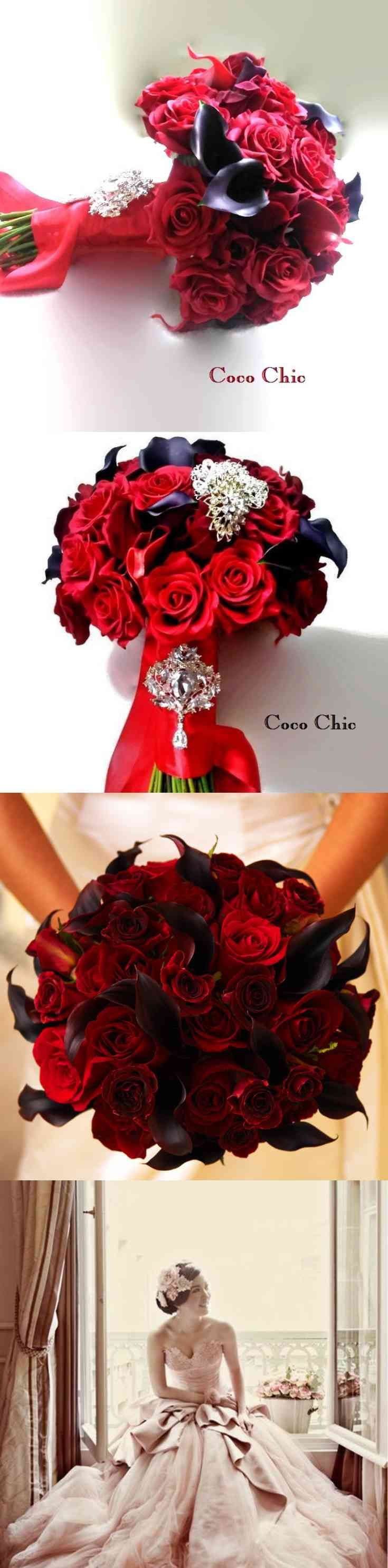 Chic Classic and Red Real Touch Roses with dark Burgundy Real Touch Calla Lily Flower Bridal Bouquets Wedding represents your personality this gorgeous and chic wedding bridal bouquet can be custom made to include , Crystal brooches of your choice attached to a handle,  this is a custom hand made bouquet for chic bride to be, 1 rose-boutonniere and 2 flower corsages. I (...) (via pushapin.com)