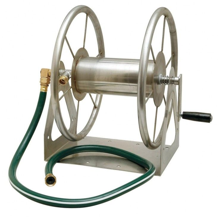 Above: Liberty Garden Products' Multi-Purpose Stainless Steel Hose Reel can be mounted on a wall or in the ground. It is 19 inches tall, can...