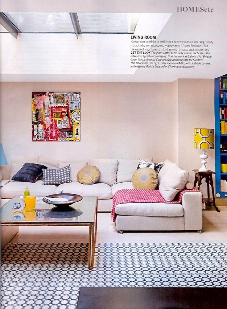 Niki Jones Circular Concentric Cushions In Gold Grey Featured Interior Designer Rebekah Caudwells London Home Living Etc Magazine February