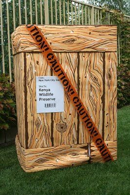 Crates made from boxes and wood look paper from Shindigz.  Caution tape put on top of this one for the lion from Madagascar movie