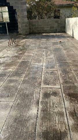 Concrete Stamped Wood Grain Floor Patio Flooring Diy