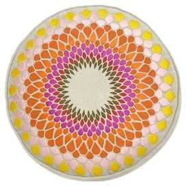 """Embroidered linen pillow with a feather down fill and vibrant mosaic sun motif.   Product: PillowConstruction Material: Linen cover and feather down fillColor: NaturalFeatures:  Printed and embroidered detailsInsert included Dimensions: 14"""" DiameterCleaning and Care: Spot clean with clean damp cloth of similar color or as specified on care label"""