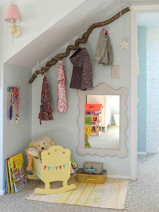 Dress up corner tree branch for rod.  Eclectic Kids Design, Pictures, Remodel, Decor and Ideas - page 6
