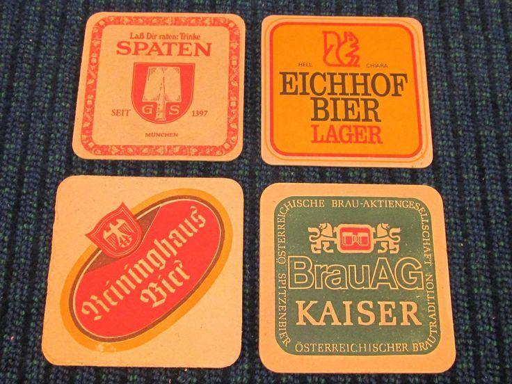 4 Vintage Old Beer Can Bottle Drink Coasters Spaten Eichhoh Kaiser Reininghaus