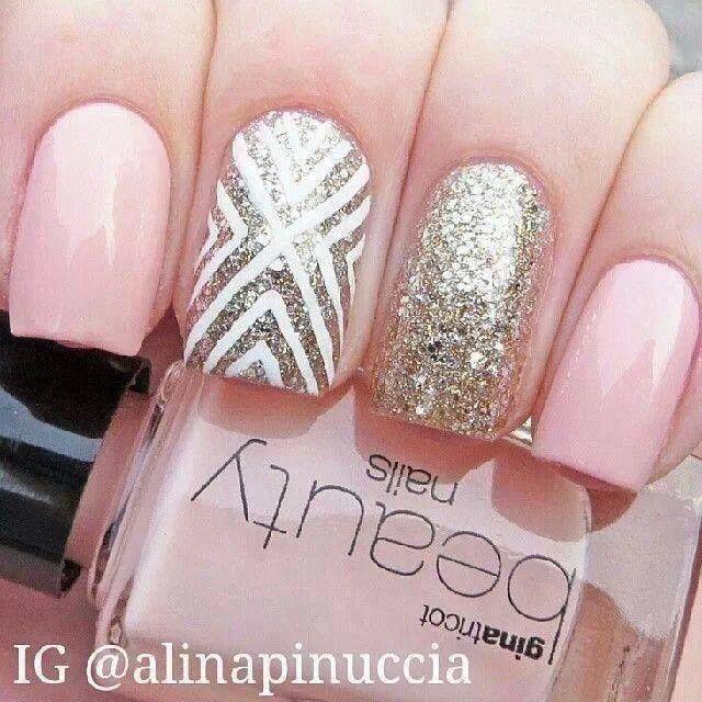 Nail art, pink, gold, tribal