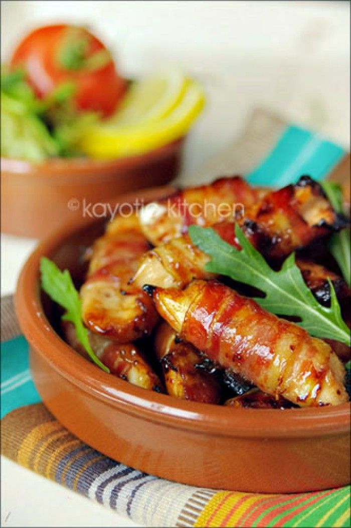 Honey Glazed Chicken and Bacon Bites - Geglazuurde honig met ontbijtspek kip
