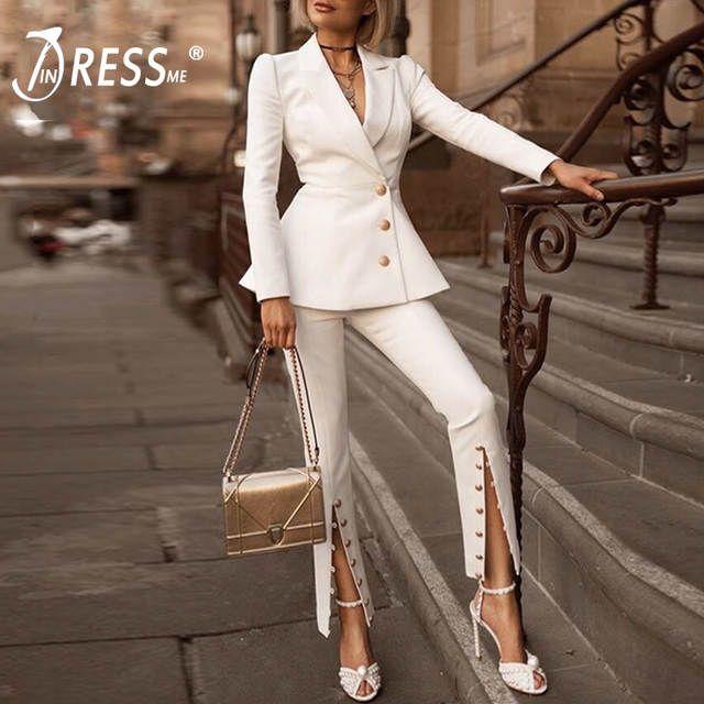 aliexpress tailleur femme en pantalon blanc