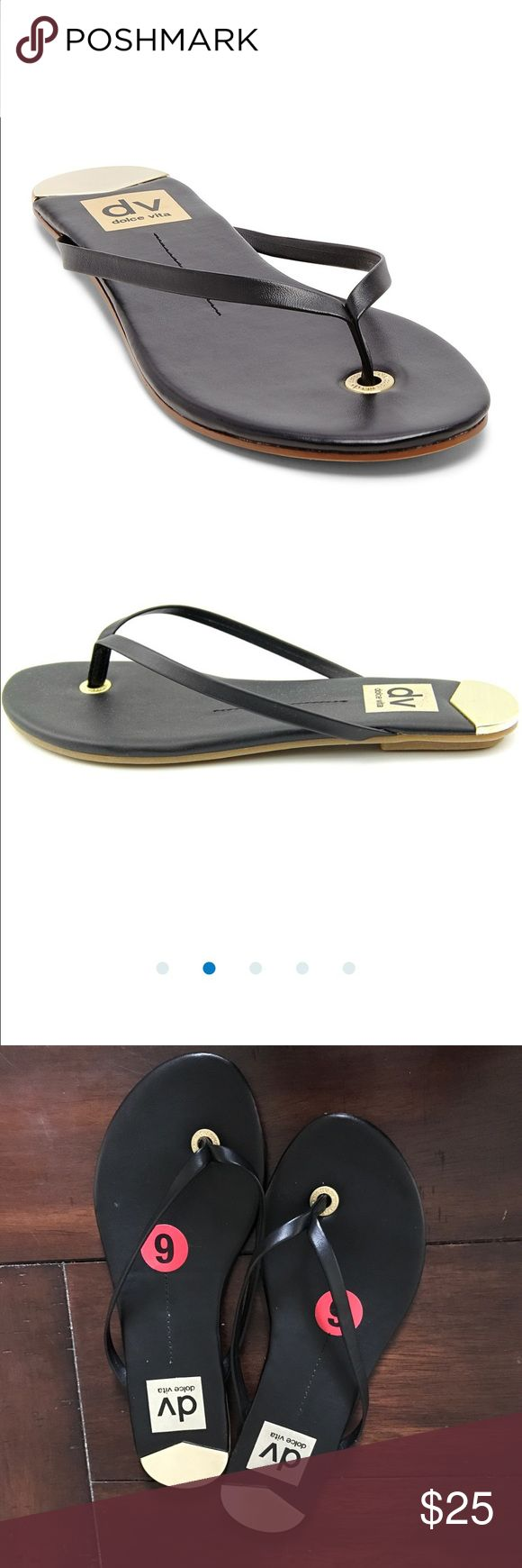 DV by Dolce Vita Flip Flops Sandals Black  flip flop * Man-made upper * Metal accent at Toe and heel*Stacked heel * Man-made insole and sole. Brand new without box. Tiny scratch on back of one heel. DV by Dolce Vita Shoes Sandals
