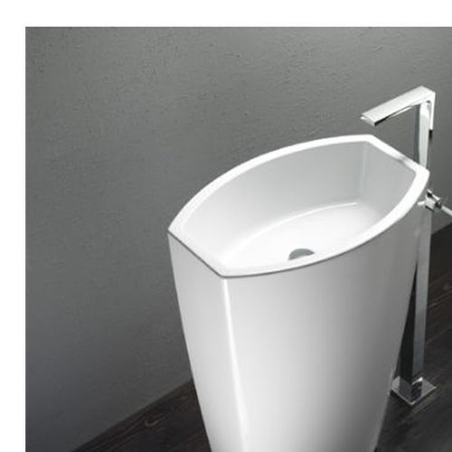 Ws Bath Collections Gsi Losagna Element Free Standing Ceramic Bathroom Sink In White Without Overflow And Faucet Hole