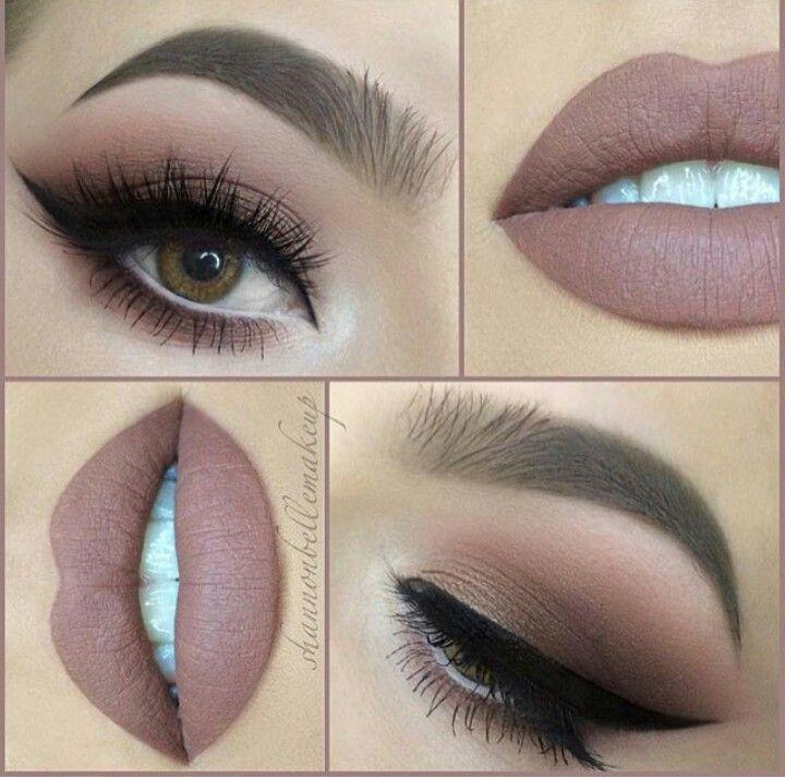 Warm tone makeup look.