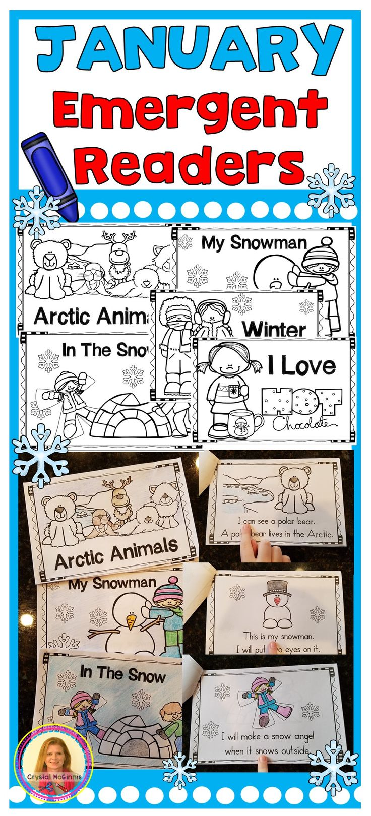 January Winter Emergent Readers (fill your book boxes) Arctic Animals, Winter, Snow, Snowman, Hot Chocolate