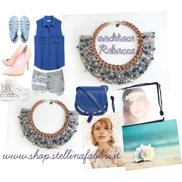 """""""Blue and Pink...whit necklace Stellina Fabbri"""" by francy83pinklady on Polyvore"""
