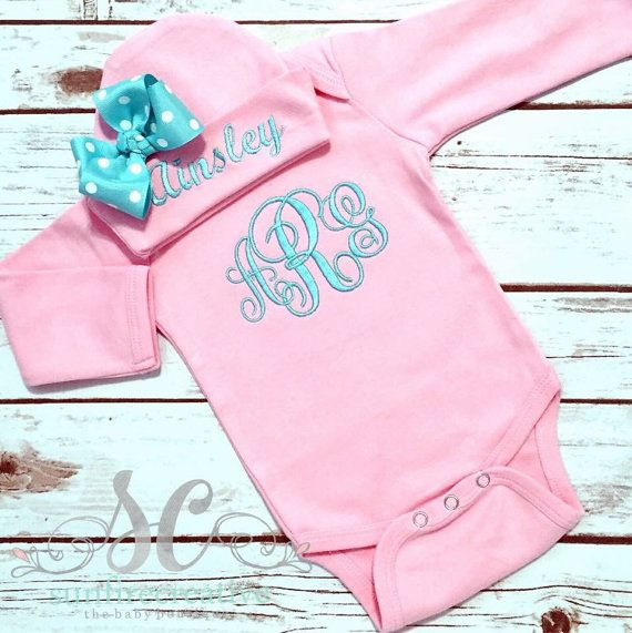 Girls Monogram Bodysuit - Newborn Coming Home Outfit - Baby Girl Gift - Bodysuit abd Beanie Hat - Girl Hat with Bow - Pink Girl Outfit