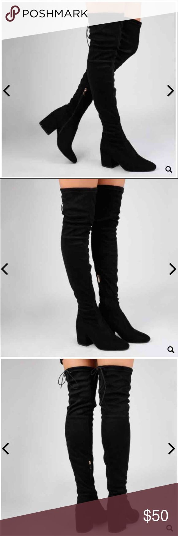 "Size:8 Naturi Black Long Boot/ over the knee Heel Height: 4"", Shoe Height: 26"" Material: Synthetic  Over the knee boots Boots are in their original box new never worn  Get this for $30 on the fashion stash app with my code: LTK for $10 credit shipping is cheap to Shoes Over the Knee Boots"