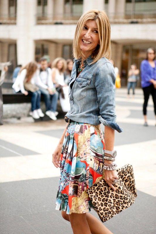 chambray shirt + printed skirt + leopard clutch