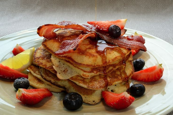 Pancake Stack with Crisp Bacon, Blueberries, Strawberries & Maple Syrup: http://www.samstern.co.uk/recipe/pancake-stack-with-crisp-bacon-blueberries-strawberries-maple-syrup/