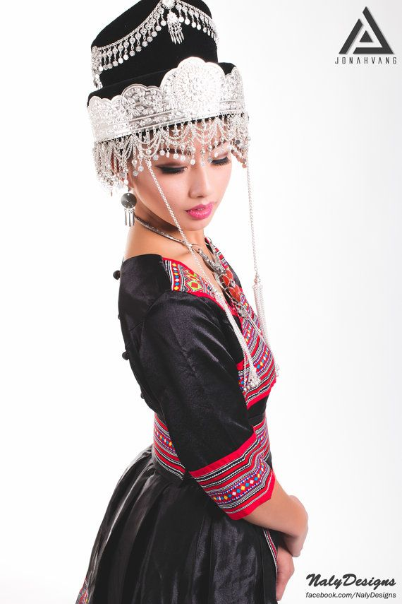 Hmong Outfit  Black with Red/White/Yellow Patterns by NalyDesigns